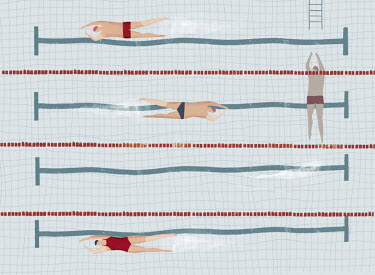 Man standing out by swimming across the swimming pool lanes