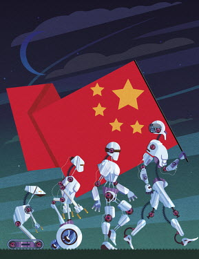 Evolution of robots carrying Chinese flag