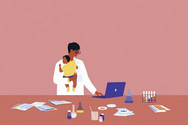 Scientist working in laboratory holding baby