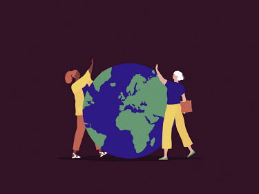 Women waving to each other across the globe