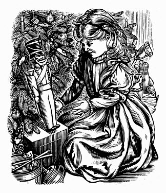 Black and white scraperboard engraving of Victorian girl with boy's toy soldier for Christmas