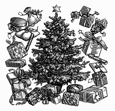 Black and white scraperboard engraving of decorated Christmas tree surrounded by presents