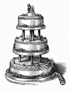 Black and white scraperboard engraving of tiered wedding cake