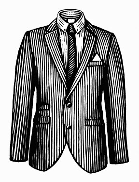 Black and white scraperboard engraving of pinstripe jacket, shirt and tie