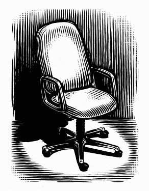 Black and white scraperboard engraving of empty office chair