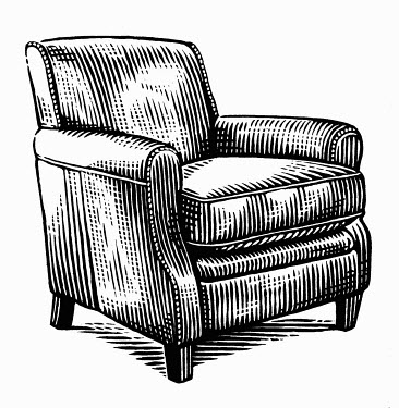 Black and white scraperboard engraving of empty armchair