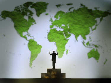 Conductor conducting green world map