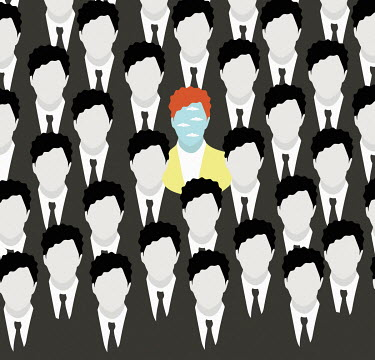 Man standing out from the crowd among rows of identical businessmen