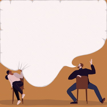 Woman being squashed by man's speech bubble