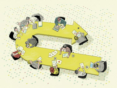 Overhead view of business meetings around u-turn table
