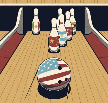 Stars and Stripes bowling ball about to hit foreign nine-pins
