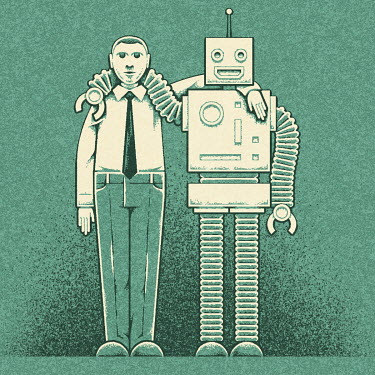 Robot and businessman with arms round shoulders