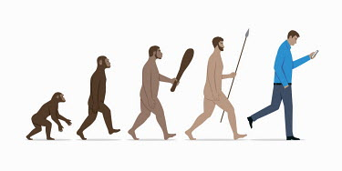 Stages in evolution from ape to modern man using smart phone
