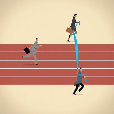 Business people moving finishing line for businessman on running track