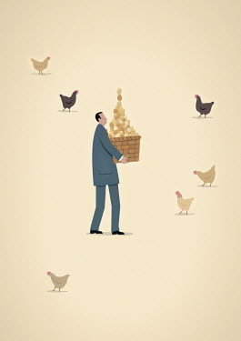 Businessman carrying basket full of chicken eggs