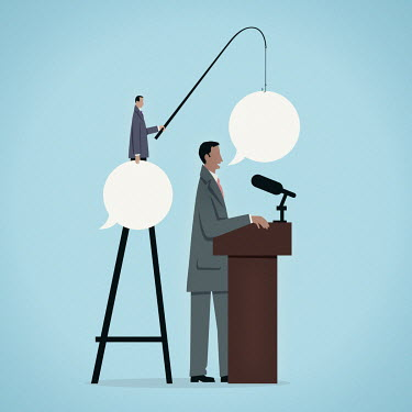 Businessman feeding speaker speech bubbles with fishing rod