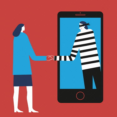 Robber greeting woman through smart phone screen
