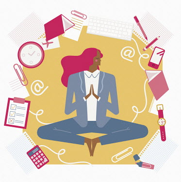 Busy businesswoman keeping calm with yoga