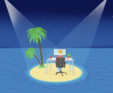 Man remote working on desert island