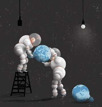 Men in spacesuits changing broken planet earth light bulb