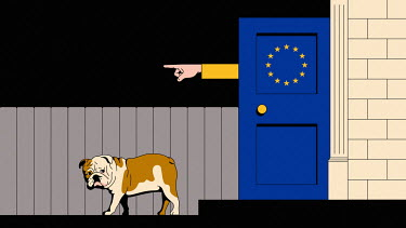 British bulldog being ejected from European Union door