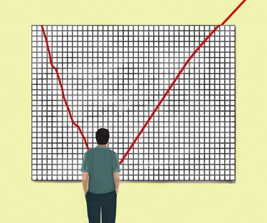 Businessman looking at line graph improving from down to up