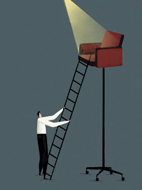 Ambitious businessman with ladder against high office chair