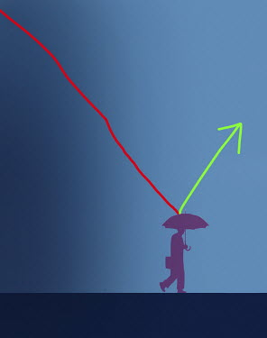 Falling line graph bouncing upwards from businessman's umbrella