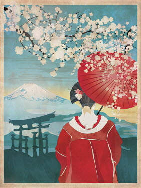 Traditional Japanese woman in spring blossom scene