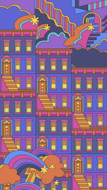 Abstract repeat terraced house pattern