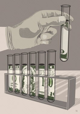 Dollar banknotes in test tubes