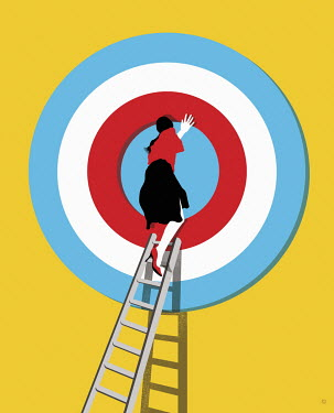 Woman climbing through target on top of ladder