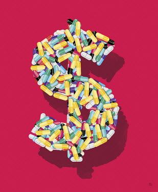 Lots of pills forming dollar sign