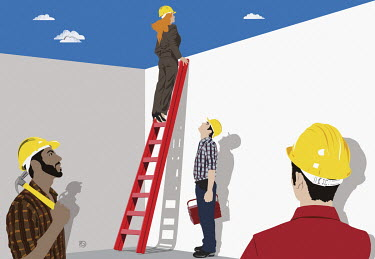Workmen watching woman looking over wall on top of ladder
