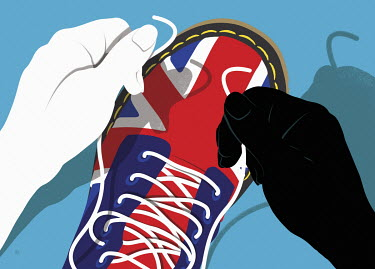 Black and white hands tying shoelaces on Union Jack shoes