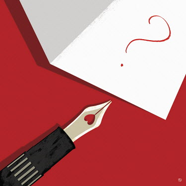 Ink pen with heart shaped nib writing question mark in card
