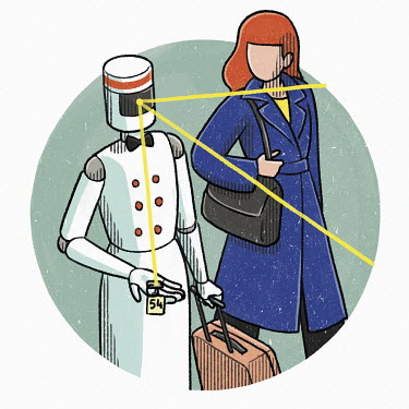 Robot bellboy helping hotel guest