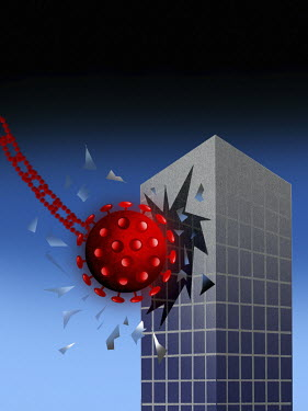 Coronavirus wrecking ball hitting office building