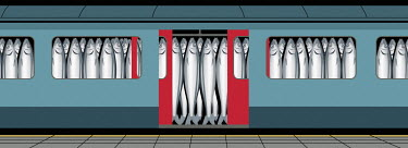 Sardines packed into underground train