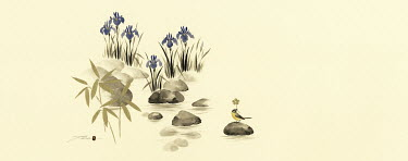 Scenic irises, bamboo and bird among rocks in water