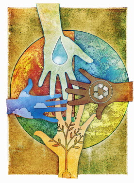 Hands reaching together over the globe to care for the environment