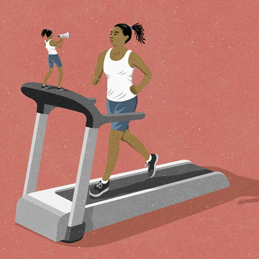Woman shouting encouragement to self on running machine