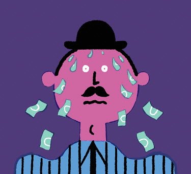 Businessman sweating banknotes