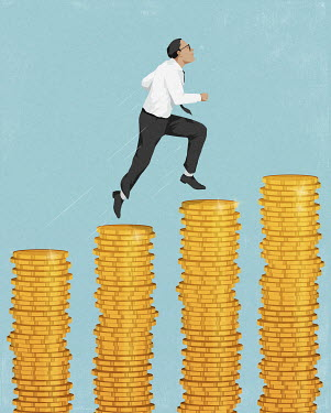 Businessman running up increasing piles of money