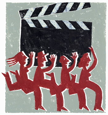 Group running with clapperboard