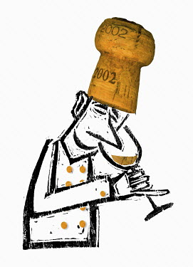 Sommelier with cork hat