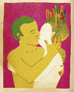 Man kissing woman with city on head