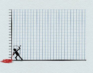 Man aiming arrow up graph paper