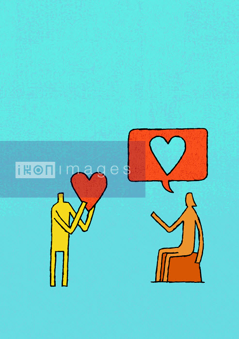 Tim Ellis - Man holding heart and woman with heart-shape speech bubble overhead