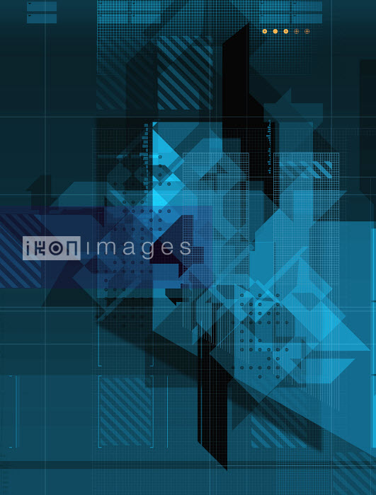 438023.TIF - Abstract blue geometric pattern - Paul Price